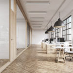 timber frame glass partition system, full height oak doors, office timber flooring